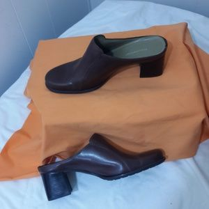 Naturalizer Leather Shoes Slip-On Mules Sz 8.5 Brn